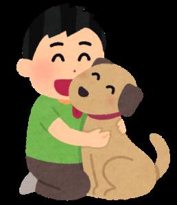 犬と男性のイラスト